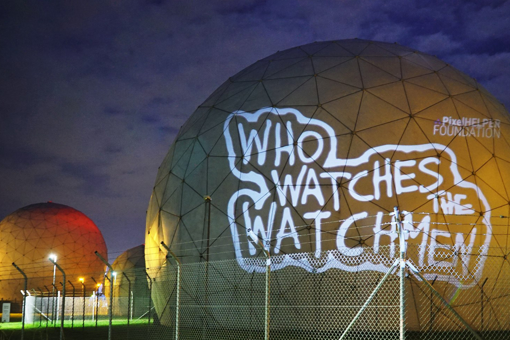 Light projection on the radome at the Federal Intelligence Service in Bad Aibling